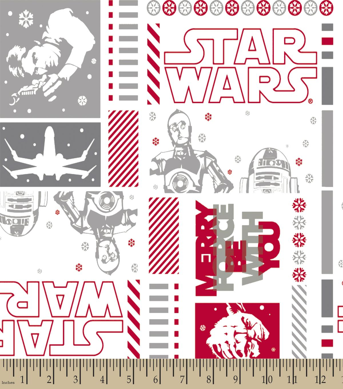 Star Wars™ Print Fabric-Merry Force Be With You-Eco Canvas | Fabric ...