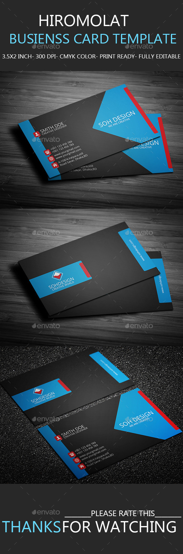 Hiromolat Business Card Template | Photoshop Action | Pinterest ...