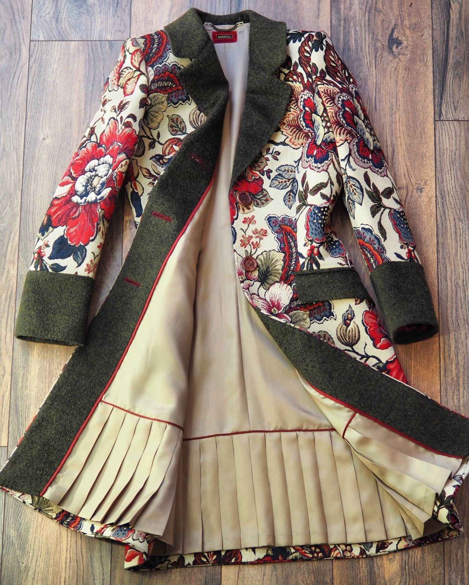 Photo of Tapestry embroidered bespoke woman coat with cuffs lining flap po