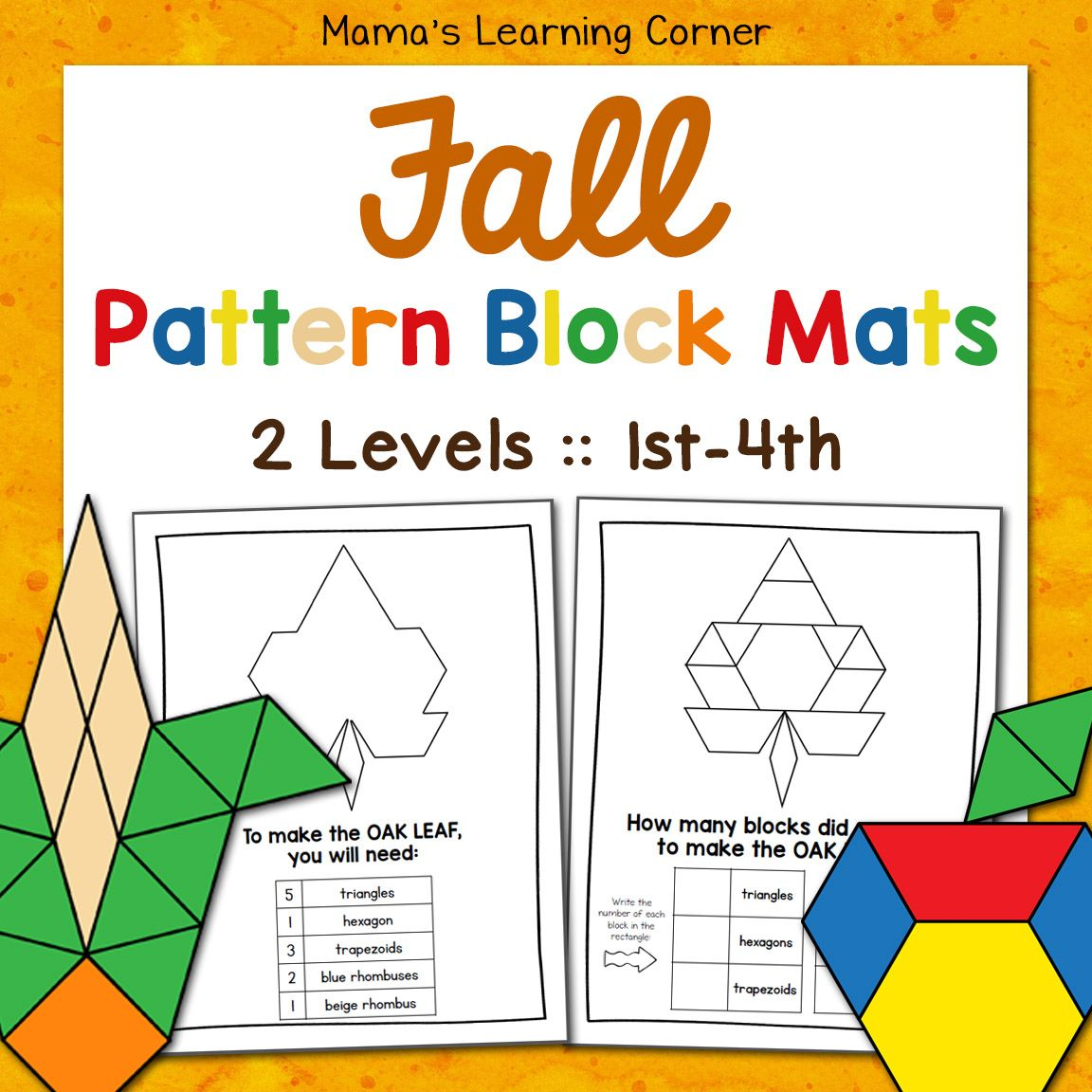 Weekly Printable Pages Round Up Fall Worksheets Printables And Goodies Galore Pattern Blocks Free Pattern Block Printables Pattern Block Printables [ 1152 x 1152 Pixel ]