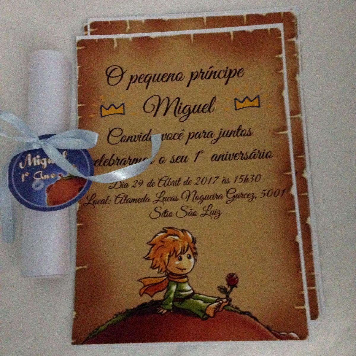 Convite pergaminho 15 por 21 Papel fotografico 120gr Acompanha fita e tag  com o nome da criança. | Convite pergaminho, Convite pequeno principe,  Convite
