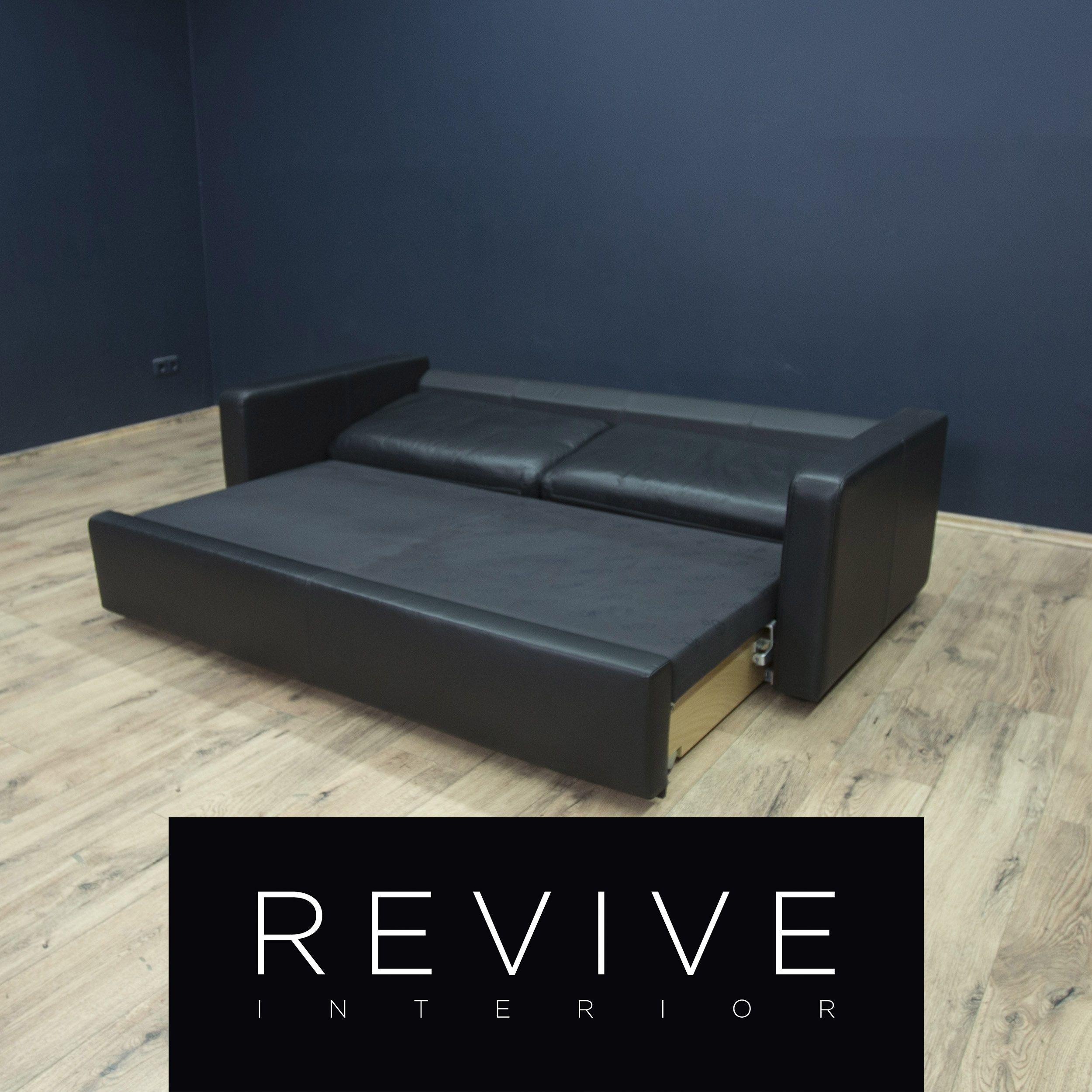 Cor Conseta Designer Leder Schlafsofa Schwarz Dreisitzer Couch Sofa