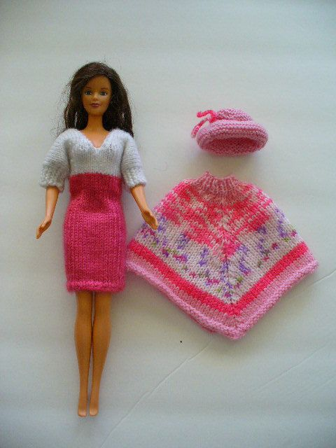 Barbie 3-piece outfit in pink and white includes dress, poncho and hat