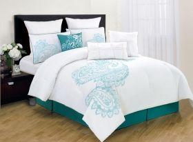 Panache Bedding Teal Seafoam Green White Paisley Pattern