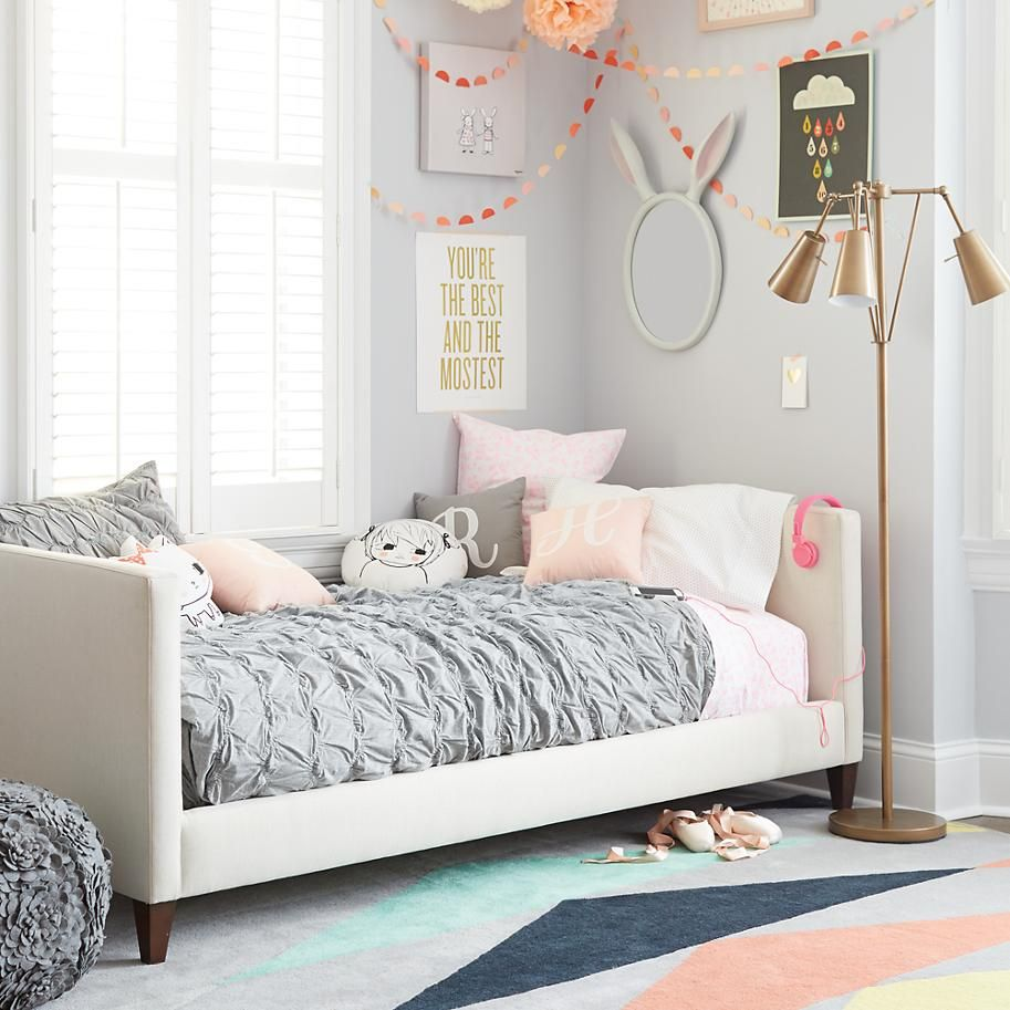 Silhouette Upholstered Daybed (Cream w/Hot Pink) The