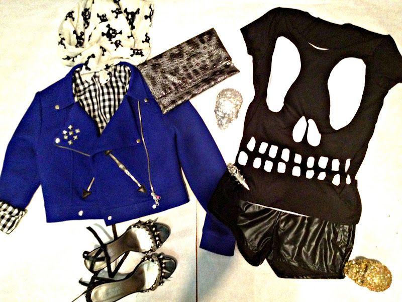 blue biker jacket with black skull T-shirt = big<3