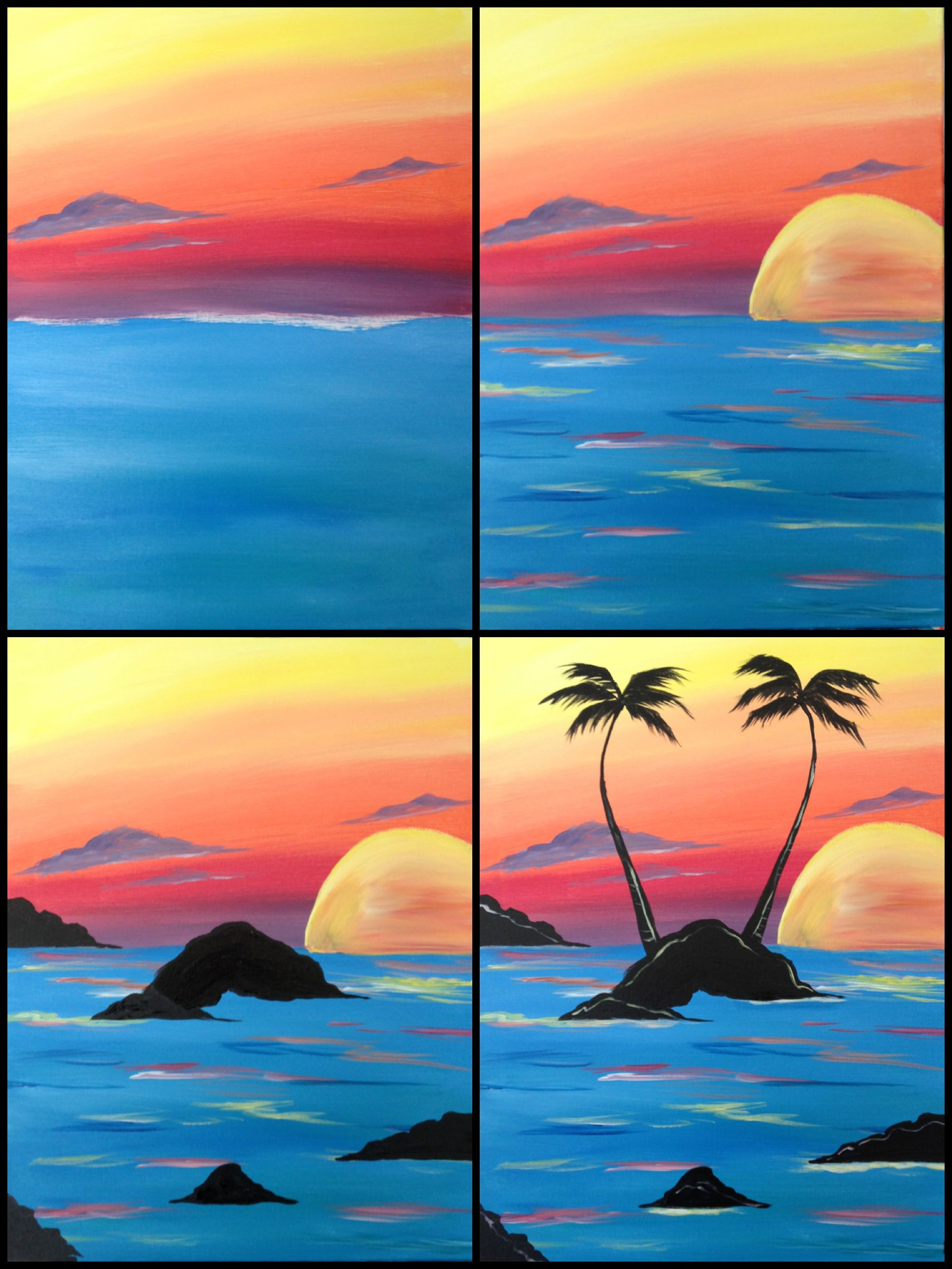 Evolution of sunset palms painted at painting with a for Easy painting ideas step by step