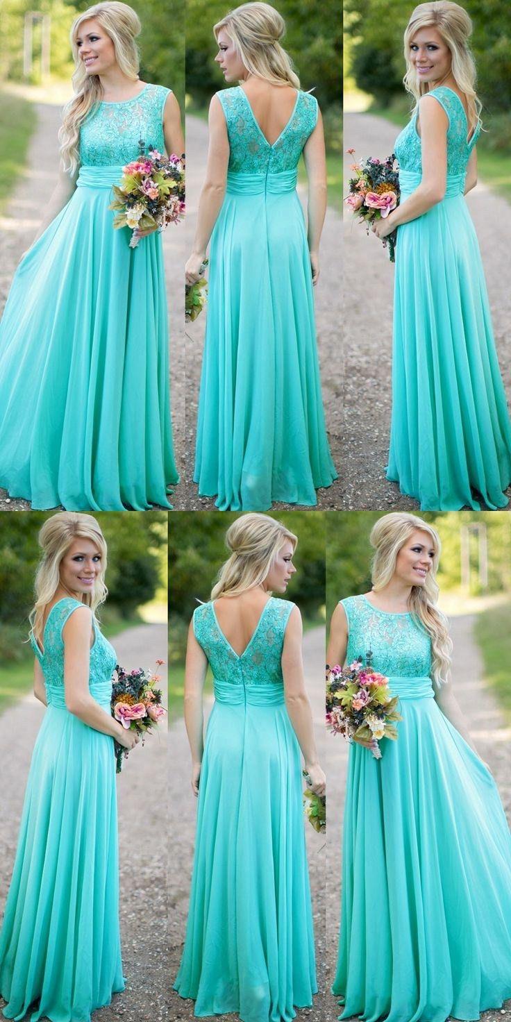 Modest scoop aline long blue bridesmaid dress tiffany blue