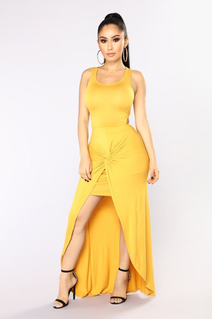 913b4ed314c Raina Draped Dress - Mustard