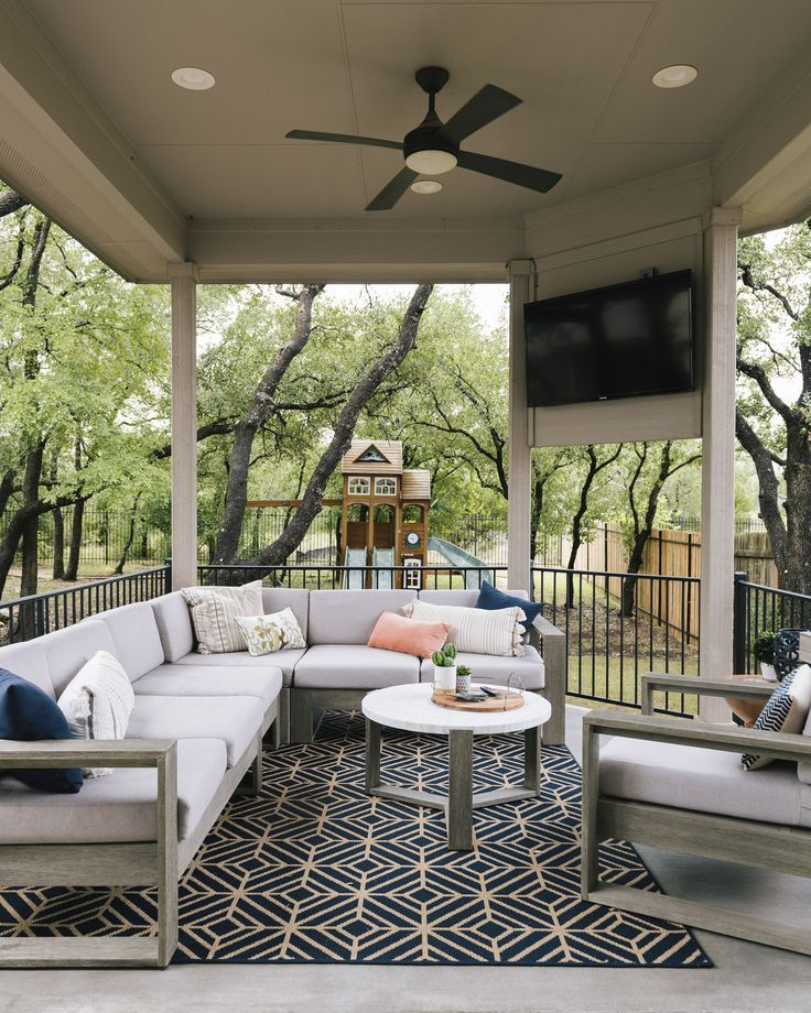 Create an outdoor living room space in an enclosed patio ... on Living Spaces Patio Set id=54411