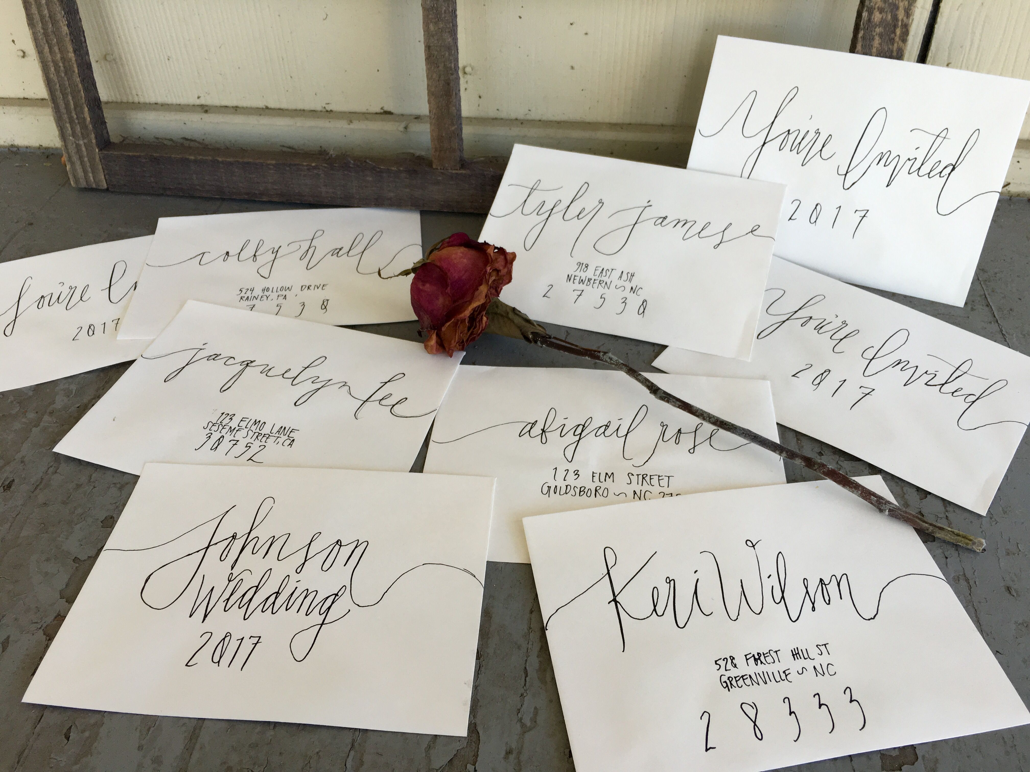Handwritten Calligraphy Wedding Invitations Envelope Addressing White Envelopes Black Ink