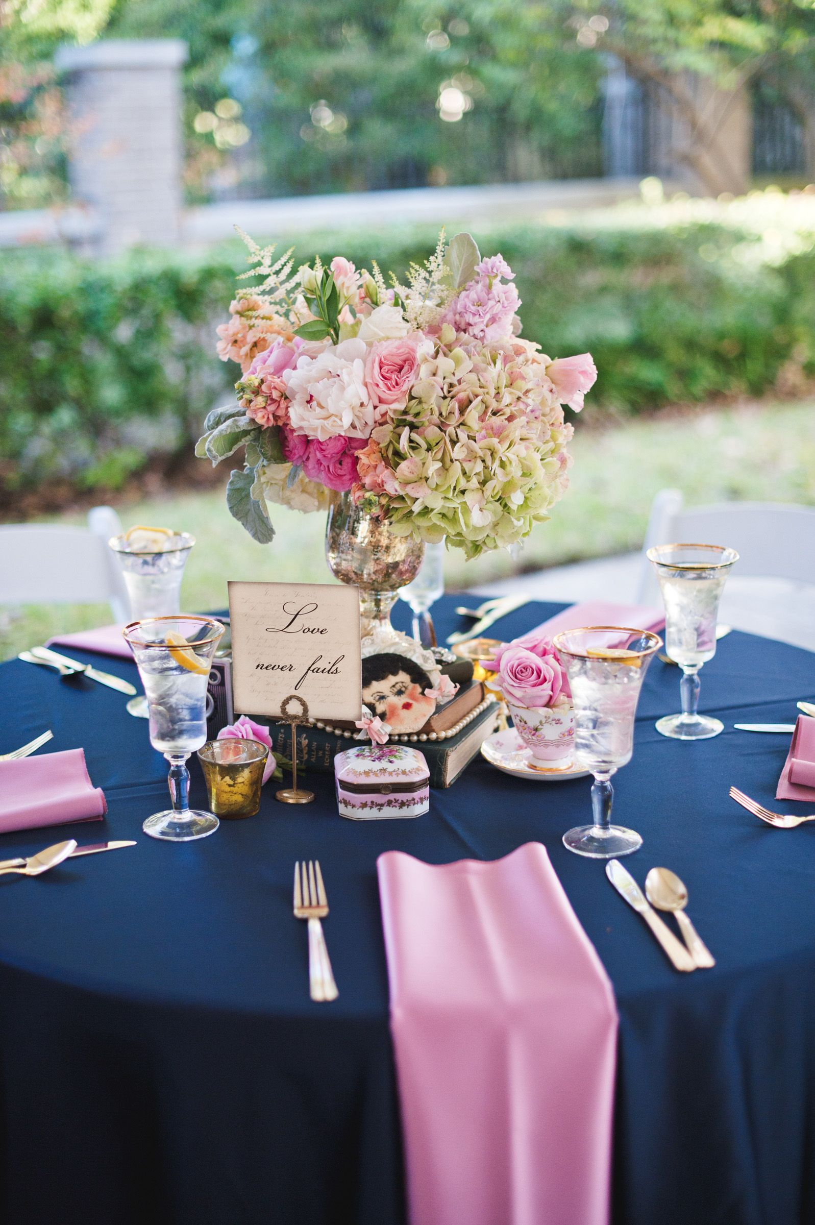 Romantic Pink Blue Vintage Aldredge House Wedding With Roses And Teacups Classic Blue Wedding Table Arrangements Wedding Agate Wedding Invitations