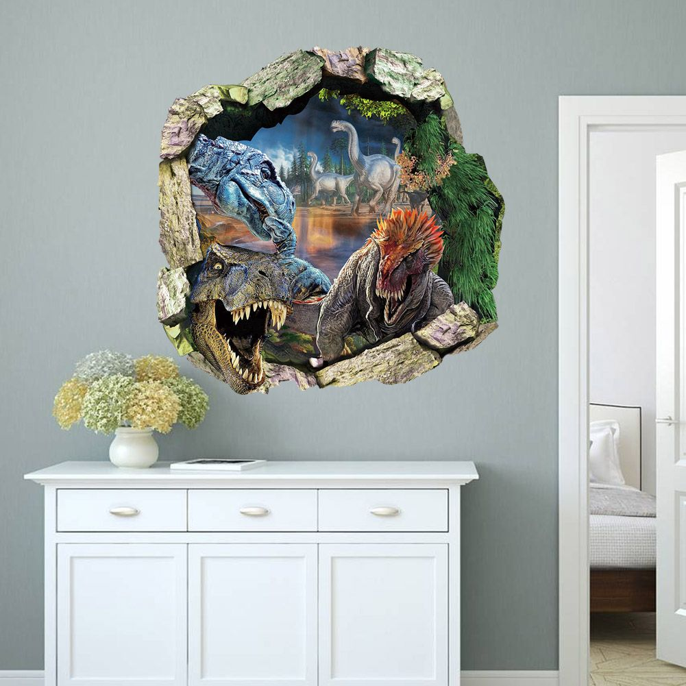 3d Dinosaurs Through The Wall Stickers Jurassic Park Home