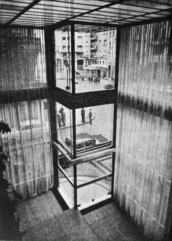 Banco Polular diseñada en 1958 por Cesar Ortiz- Echagüe Rubio y Rafael Echaide Itarte que se encontraba en la Gran Via 67 esquina con la Calle Doctor Carracido en Madrid