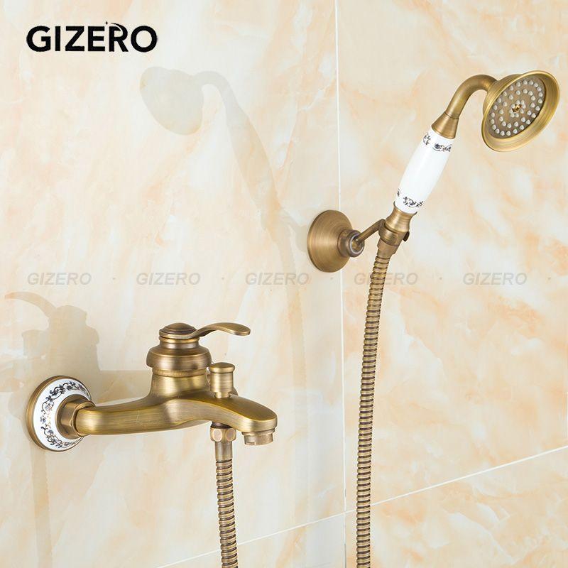 GIZERO Free shipping Vintage Bathroom Brass Shower Set Single Handle ...