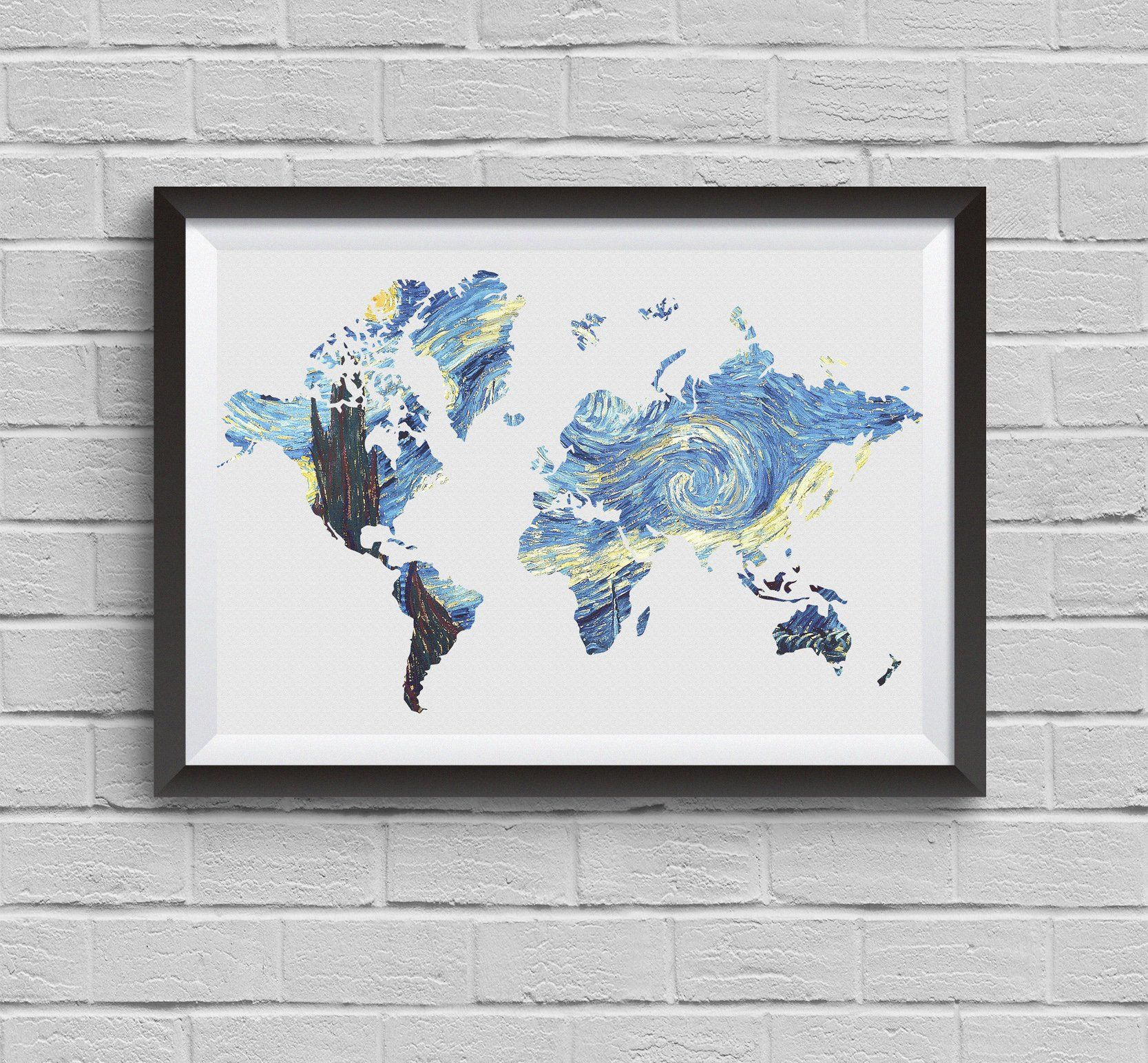 Large world map painting vincent van gogh print starry night poster large world map painting vincent van gogh print starry night poster archival fine art print wall gumiabroncs Image collections