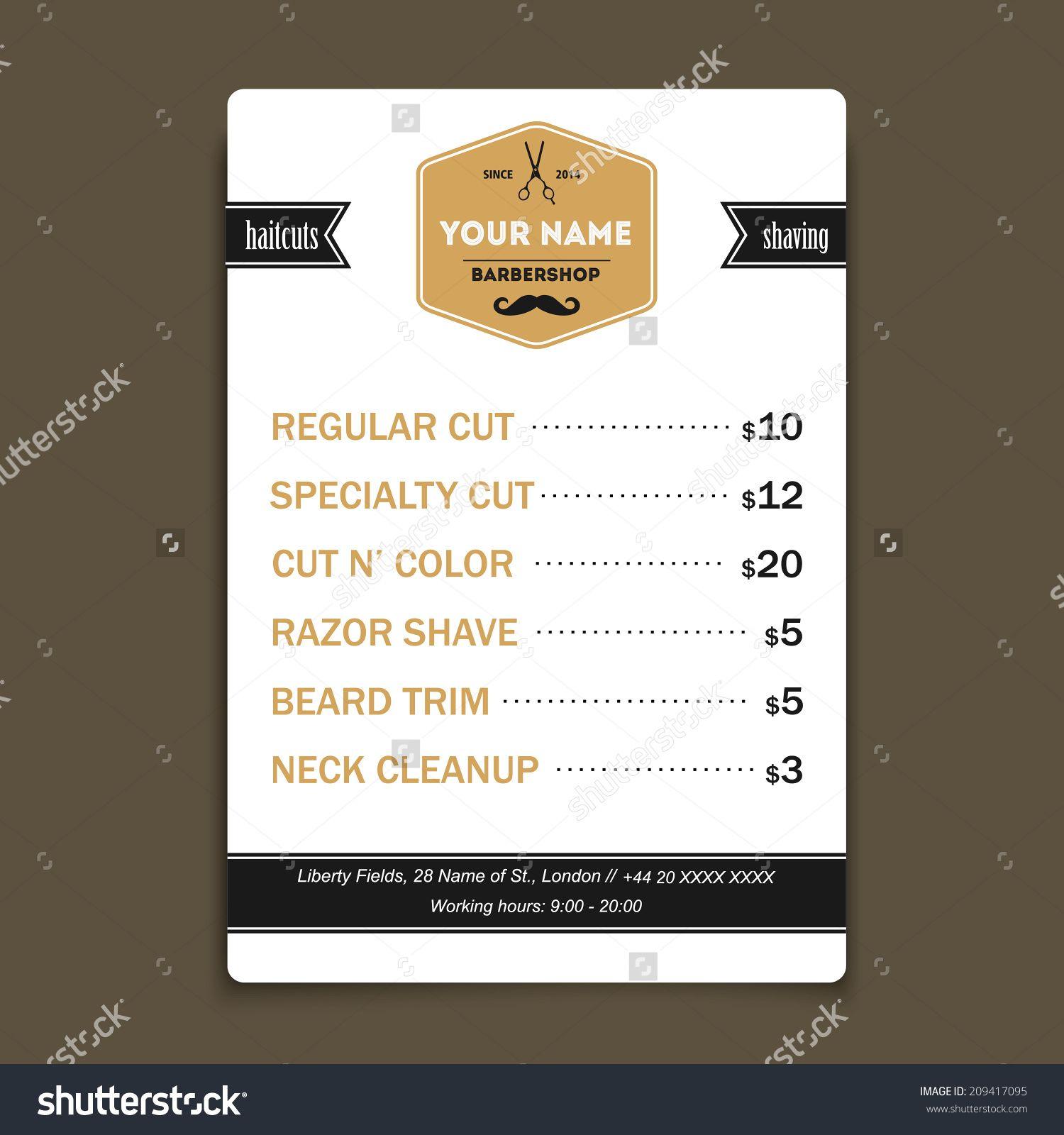 barber shop vintage offer list template stock vector illustration 209417095 shutterstock. Black Bedroom Furniture Sets. Home Design Ideas