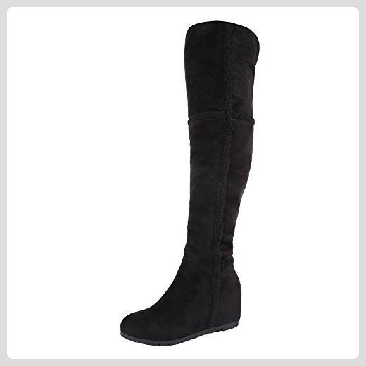 Overknee Stiefel Damen Schuhe Keilabsatz Wedge