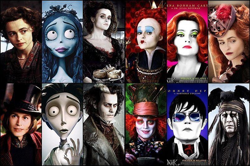 ~ lado alfombra superficial  Helena Bonham Carter and Johnny Depp (and let's just put Tim Burton's name  here as well :D)   Tim burton movie, Tim burton films, Tim burton