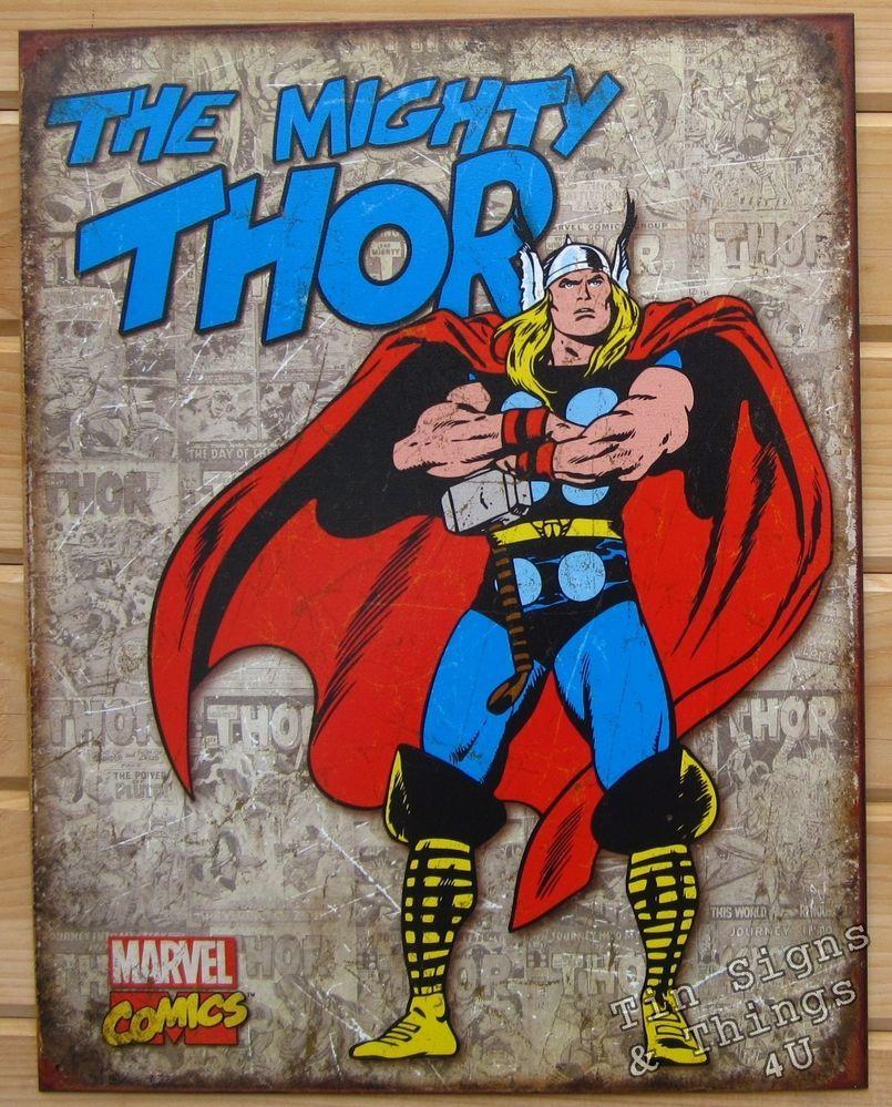 Retro Superhero Art: Mighty Thor RETRO COVER PANELS Marvel TIN SIGN Metal