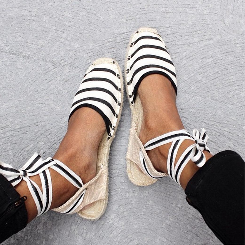 Lace Up Trending Shoes Women S Espadrilles Shoes Flats Sandals