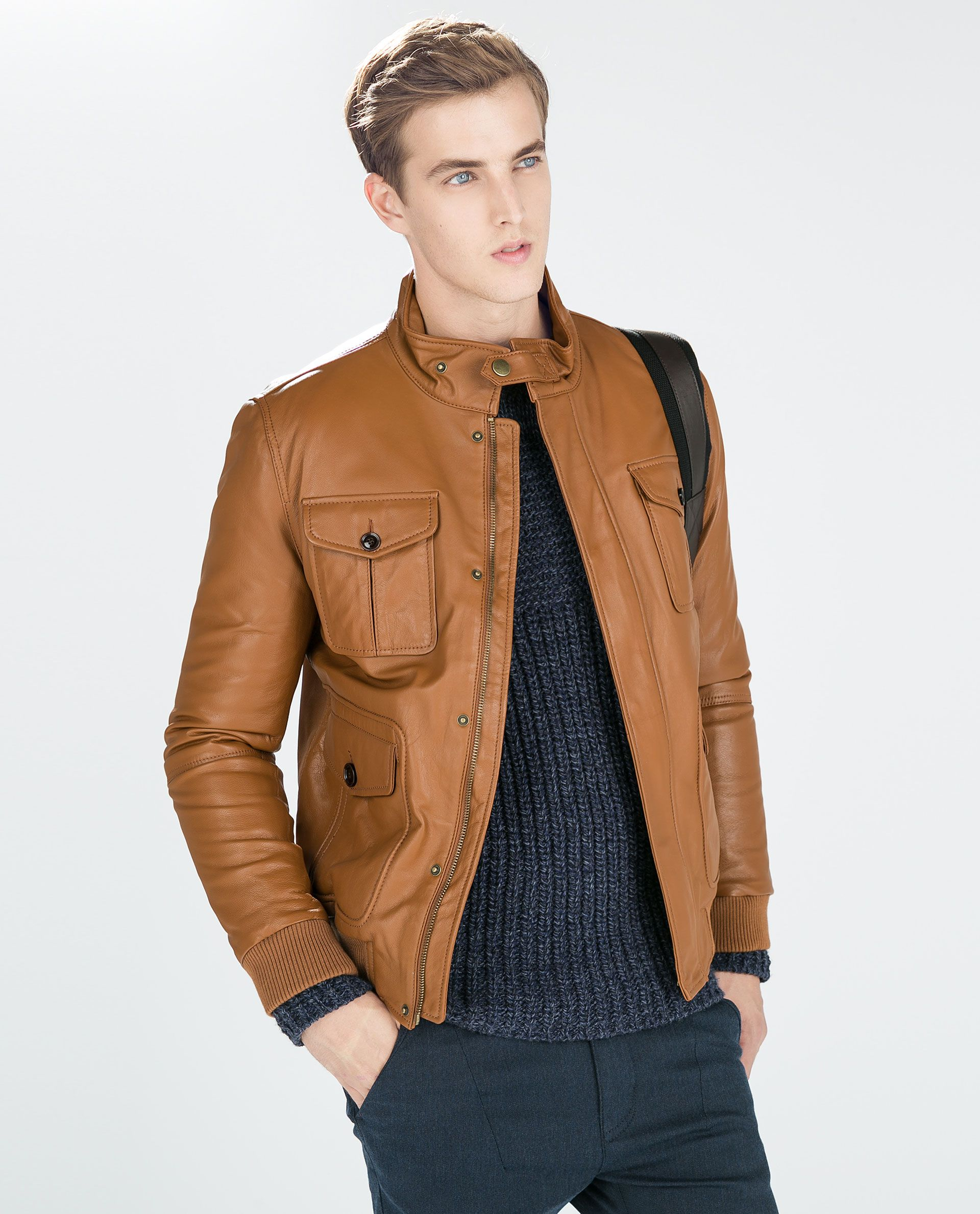 Image 3 of BROWN LEATHER AVIATOR JACKET from Zara