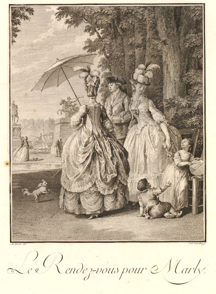 8c6c9a353 Plate 21: aristocratic couple, their children and a woman seen from behind,  standing near the park of Marly. 1777 Etching and engraving