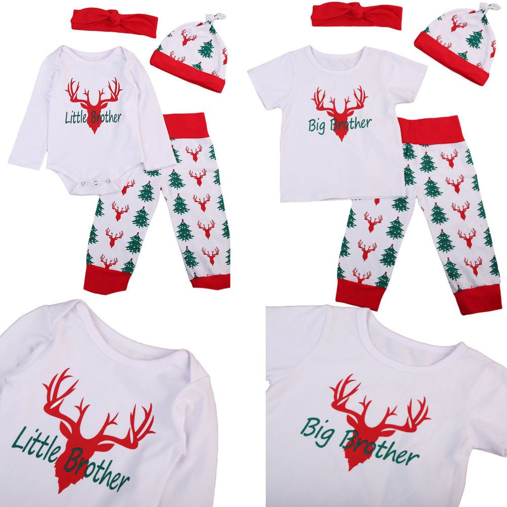 bc2d09fd1 Matching Little Big Brother Baby Reindeer Long Sleeve Romper Pajamas ...