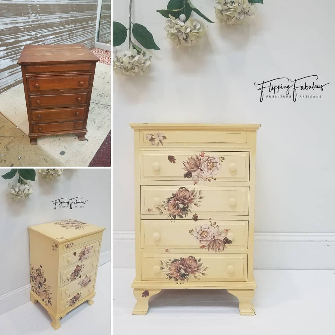 How Adorable Is This 4 Drawer Nightstand Dresser Painted In Fusionmineralpaint Prarie Sunset Buttermilk Cream Dixi Furniture Drawer Nightstand Home Decor