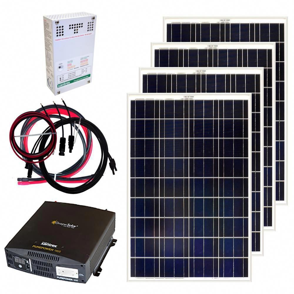 Grape Solar 400 Watt Off Grid Solar Panel Kit Gs 400 Kit The Home Depot Off Grid Solar Panels Solar Energy Panels Solar Panel Kits