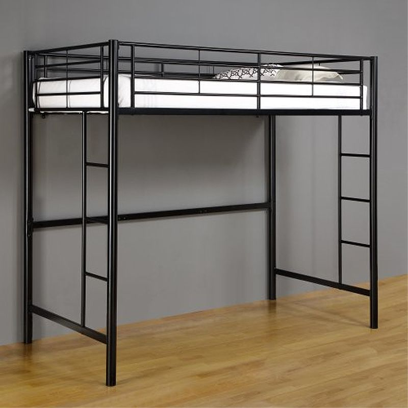 Walker Edison Metal Twin Loft Bed Black BTOLBL