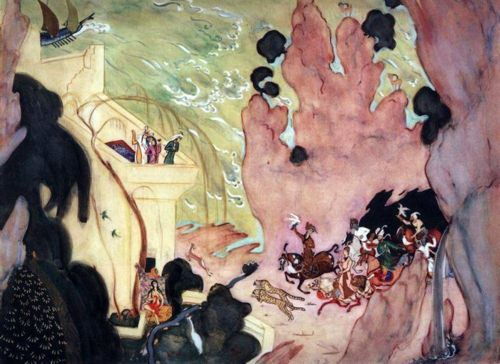 """Valentin Serov, Riders, sketch for the ballet """"Scheherazade,"""" 1910.    Note how Serov has adapted the """"cloud rock"""" aesthetic of Persian miniature painting (in turn assimilated from the influence of Chinese painting in the 13th and 14th centuries)."""