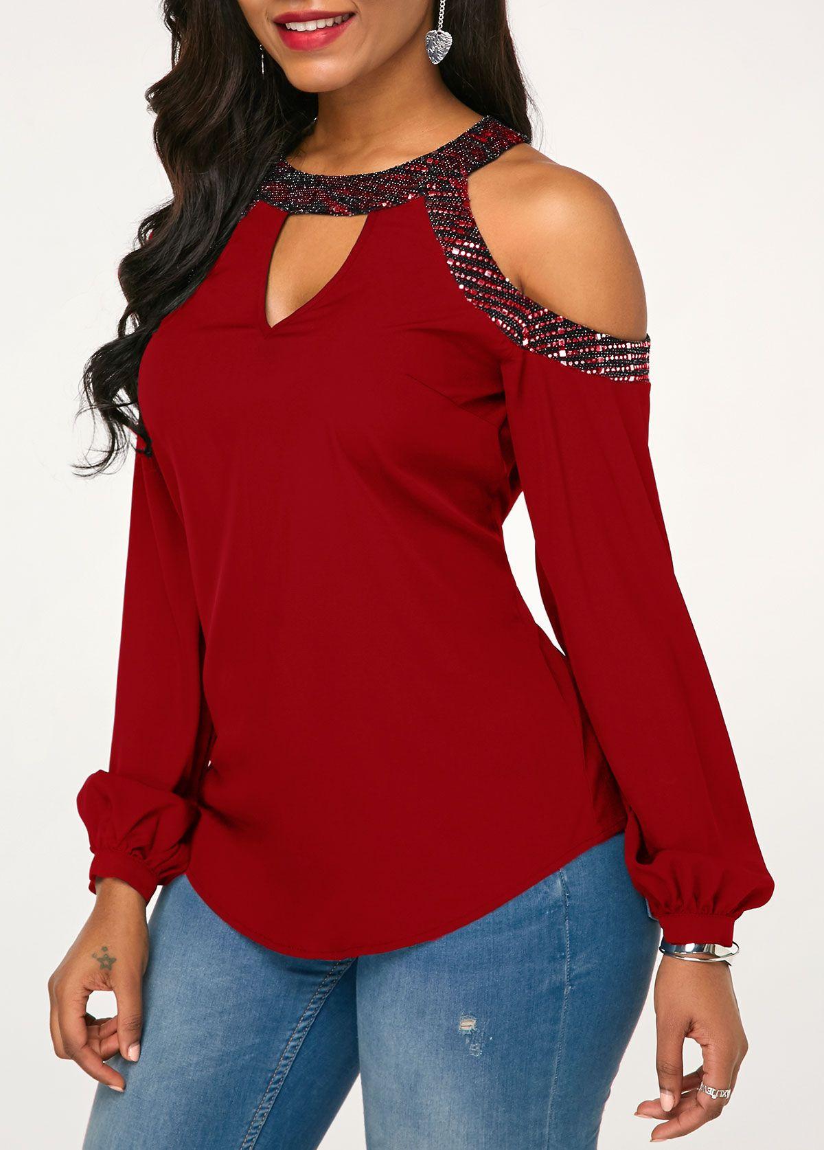 00847c9205e Embellished Neck Cold Shoulder Cutout Front Wine Red Blouse