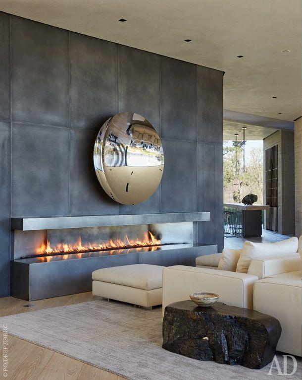 Beau Linear Fireplace Cheminée Ethanol, Intérieur Gris, Intérieur Moderne, Deco  Rangement, Maison Et