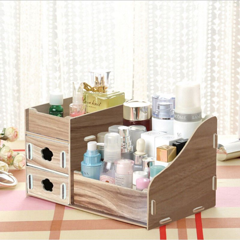 Wooden Desktop Diy Cosmetic Makeup Storage Box Case Organizer