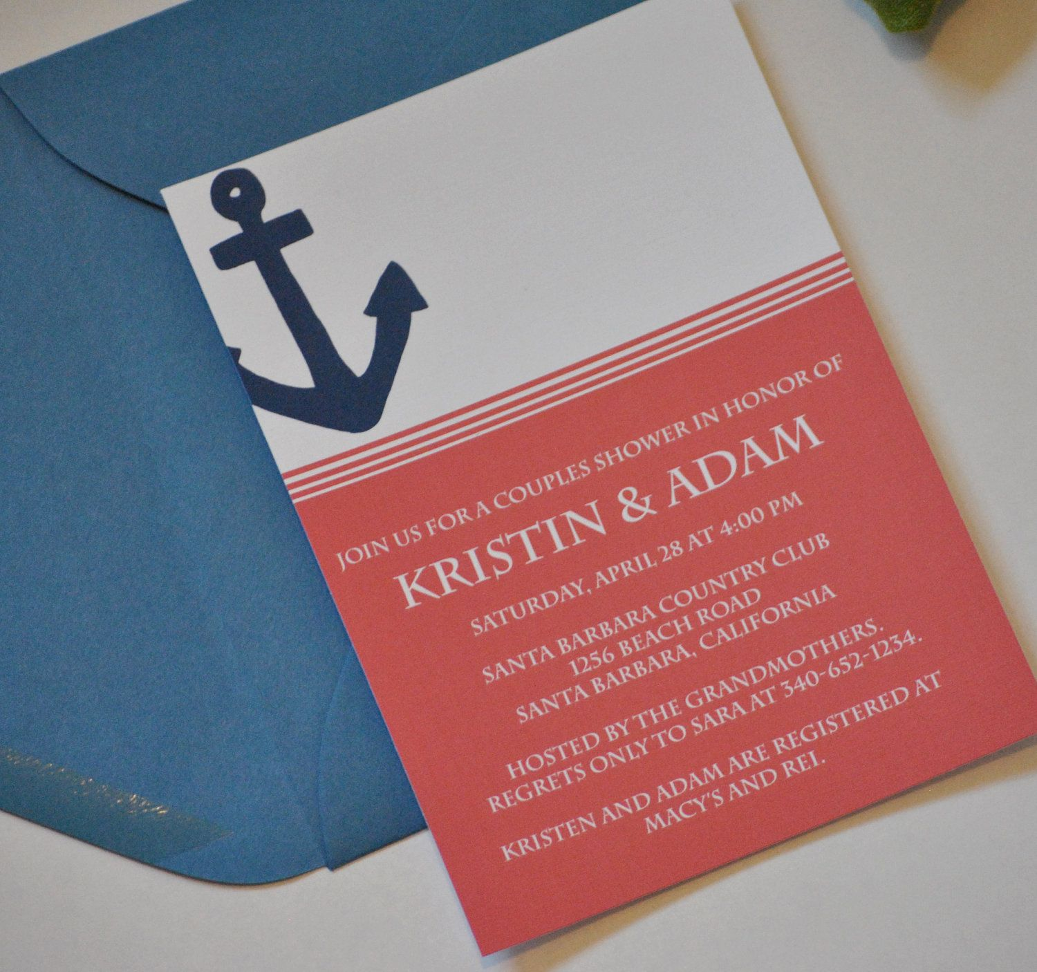 Nautical Sea Anchor Invitation - Digital, DIY, Printable Invitation ...