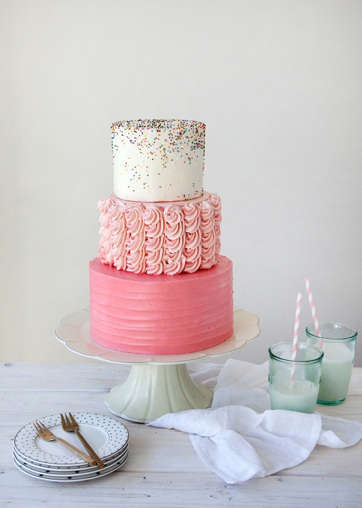 Gorgeous 3 tier pink sprinkle party cake.  The ultimate chic cake! #brownie #food