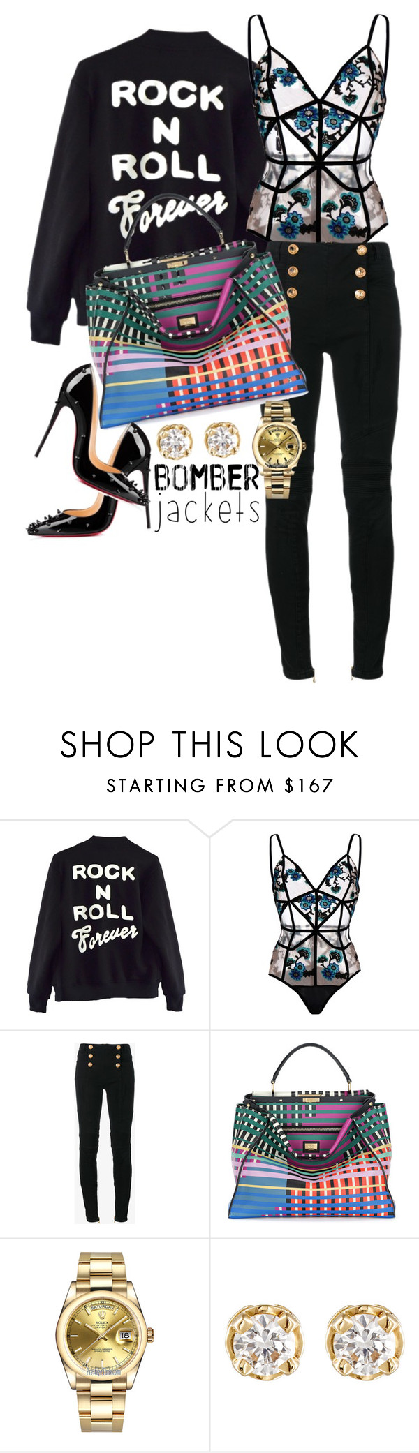 """Forever!!!"" by styledbytammy ❤ liked on Polyvore featuring High Heels Suicide, For Love & Lemons, Balmain, Fendi, Rolex, Hoorsenbuhs and Christian Louboutin"