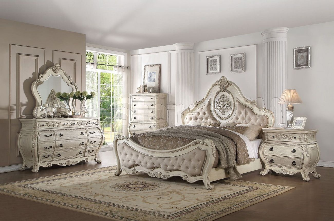 Best Ragenardus 5 Pc Bedroom Set In Antique White By Acme Furniture Victorian Bedroom Furniture 640 x 480