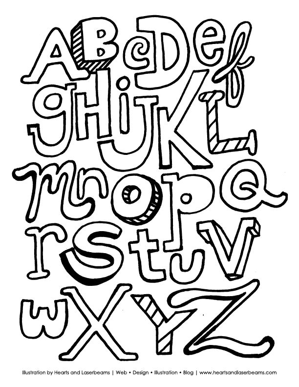 the abc letters free downloadable coloring book page by hearts and laserbeams - Free Coloring Books