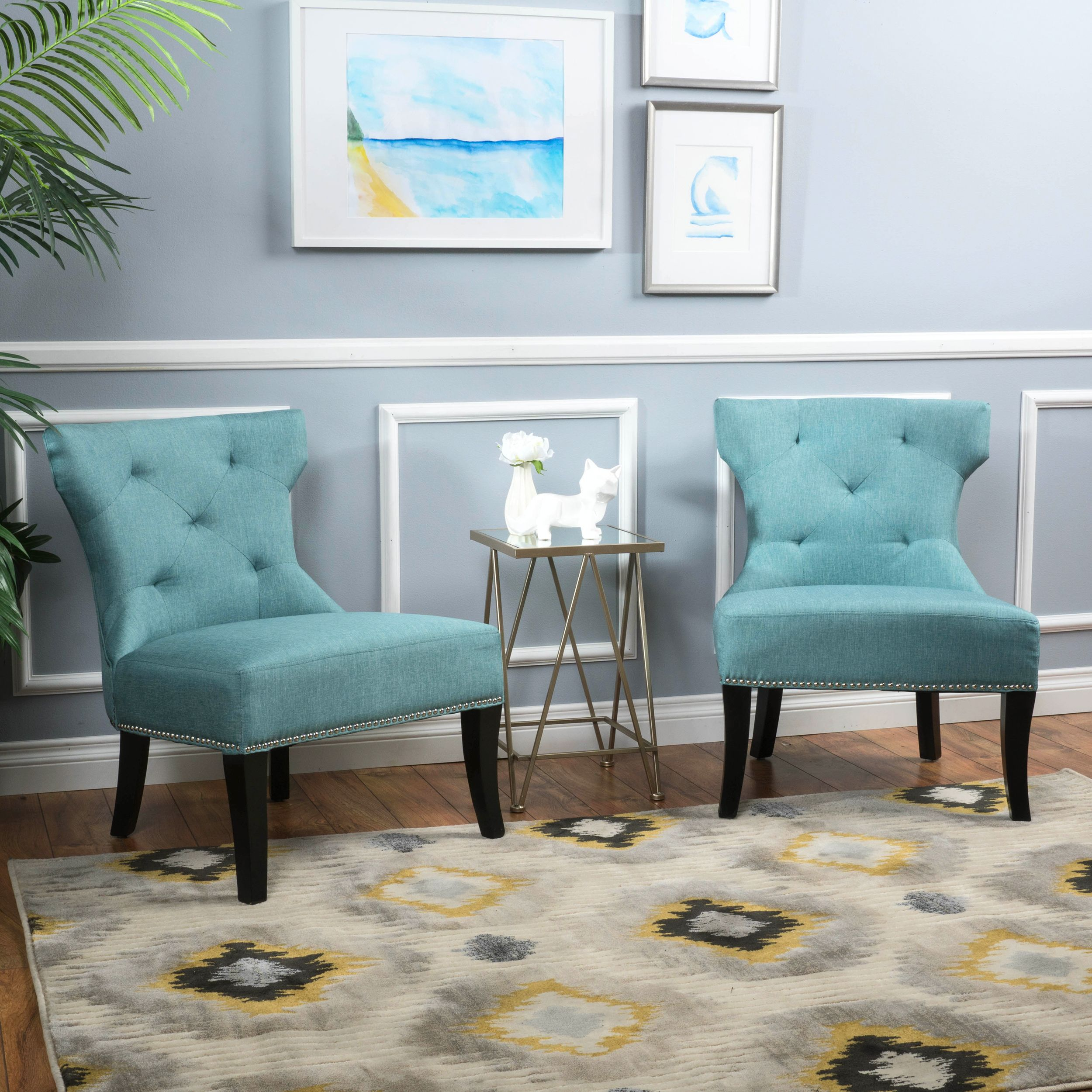 blue accent chairs set of 2