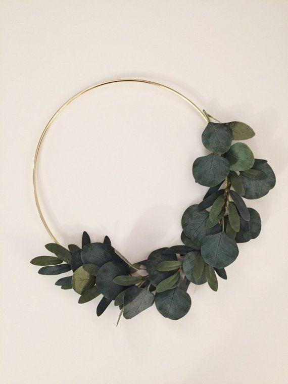Photo of Simple Eucalyptus Wreath | Modern Wreath | Scandinavian Wreath | Hoop Wreath | Wall Art