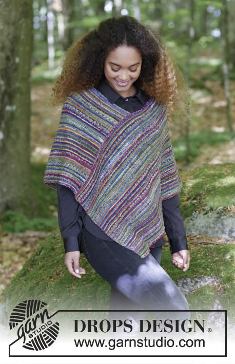Stripes in Monaco - Knitted poncho with garter stitch and stripes. Sizes S - XXXL. The piece is worked in DROPS Fabel. Free pattern by DROPS Design. Free knitted pattern DROPS 180-27