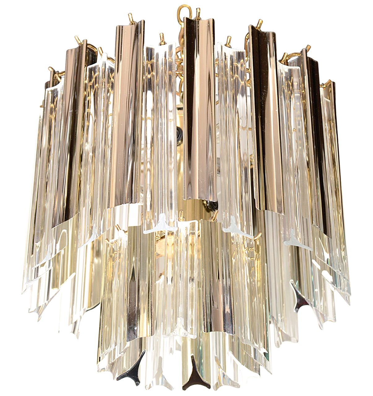 1stdibs.com | Mid Century Modern Two Tier Chandelier with Metallic & Clear Lucite Prisms