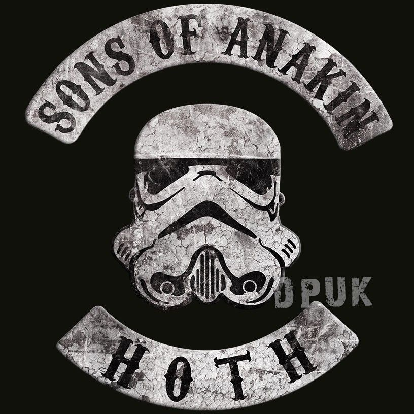 Sons Of Anakin - Star Wars T Shirt - With the popularity of MC club patches at an all time high due to the ongoing success of TV shows like Sons Of Anarchy, this T Shirt is ideal for any Star Wars movie fan!The back of this t shirt features the club name
