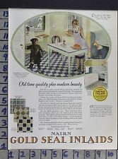 1926 ARCHITECTURAL NAIRN GOLD SEAL INLAID LINOLEUM KITCHEN VINTAGE AD DV46
