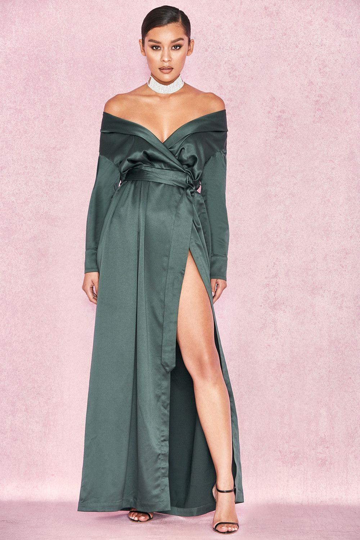 e1b332f02f Clothing   Max Dresses    Antoinette  Evergreen Satin Off Shoulder Maxi  Wrap Dress