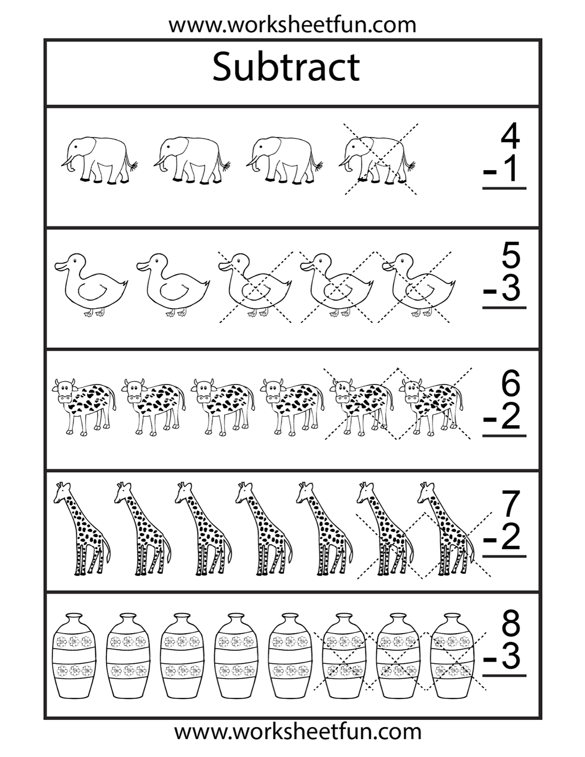 Subtraction Pictures Worksheet
