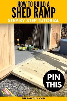 Make it easier to move tools and equipment in and out of your garden shed with a ramp. Check out our step-by-step tutorial on how to build a shed ramp to avoid unnecessary accidents and physical strain.  #thesawguy #DIYshed #DIYshedramp #shedramp #DIYhome #gardenshed