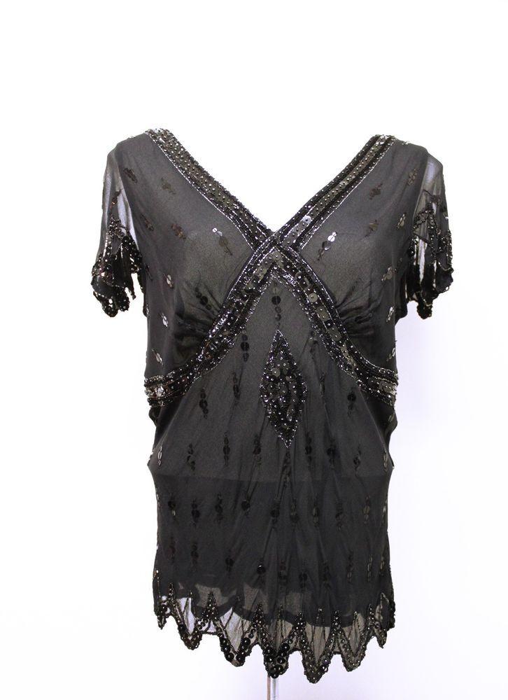 Papell Boutique ~ SZ XL ~ Black Sequin & Bead Top ~ 1920s Look